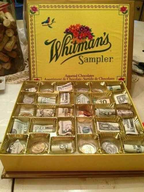 گذاشتن پول داخل باکس شکلات
