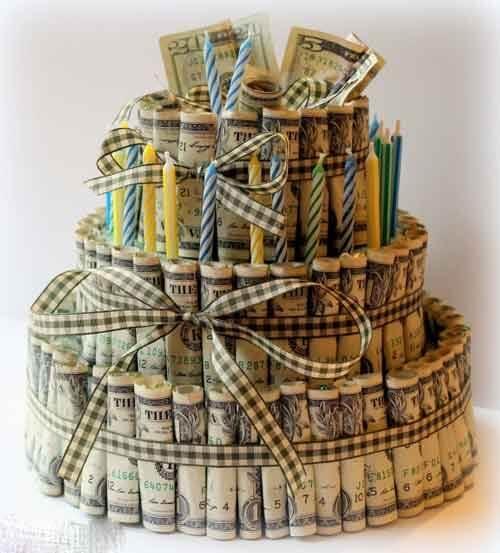 تزیین پول به شکل کیک
