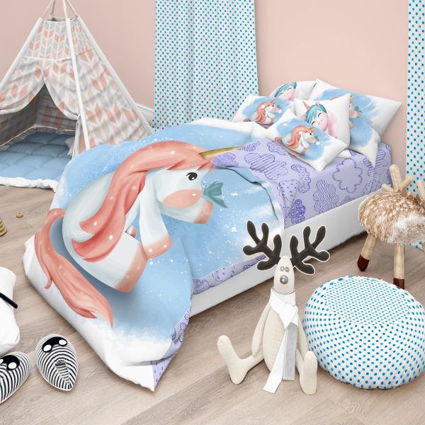 سرویس خواب 8 تکه نوزادی مدل blue unicorn