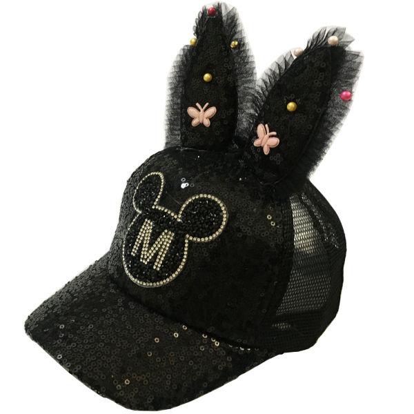 کلاه کپ دخترانه مدل خرگوشی پولکی رنگ مشکی