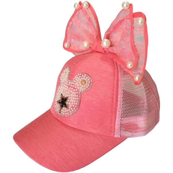 کلاه کپ دخترانه مدل میکی پاپیون رنگ گلبهی