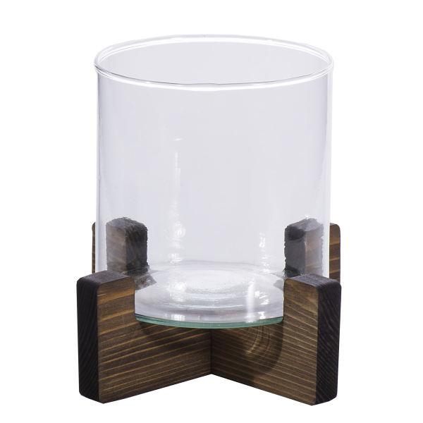 گلدان دکوری مدل تنگ شیشه ای پایه چوبی