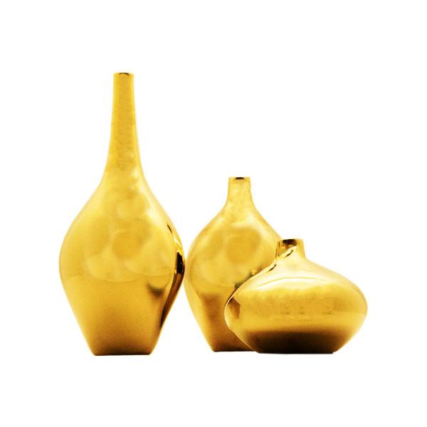 گلدان شیشه ای مدل سالونگ مجموعه 3 عددی